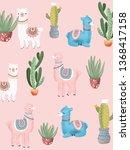 pink lamas pattern | Shutterstock . vector #1368417158