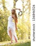 stunning hippie bride with... | Shutterstock . vector #136846526