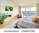 Stock photo beautiful bedroom in luxury home 136847282