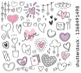 set of heart shape doodle... | Shutterstock .eps vector #1368491498