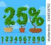 green leaf vector character set.... | Shutterstock .eps vector #1368518702