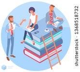 isometric online education... | Shutterstock .eps vector #1368518732