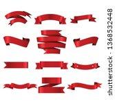 red ribbon set inisolated white ... | Shutterstock .eps vector #1368532448