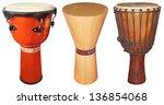Three Wooden Jembe Drums...