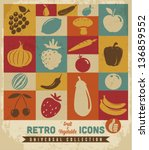 Fruit And Vegetable Icons Set...