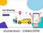 online car sharing with cartoon ... | Shutterstock .eps vector #1368615098
