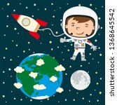 funny astronaut in a spacesuit... | Shutterstock .eps vector #1368645542