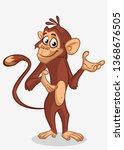 pretty monkey cartoon. vector... | Shutterstock .eps vector #1368676505