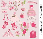 set of gentle wedding icons | Shutterstock .eps vector #136869008