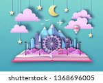 open fairy tale book with city... | Shutterstock .eps vector #1368696005