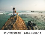 young yoga woman meditation on... | Shutterstock . vector #1368725645