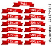 set of red sale ribbons with...   Shutterstock . vector #1368744845