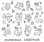 zodiac icons doodles set   Shutterstock .eps vector #136879145
