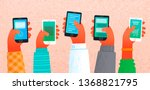 lot of hands holding... | Shutterstock .eps vector #1368821795