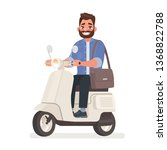 Bearded Man Riding A Scooter T...