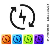 black recharging icon isolated... | Shutterstock .eps vector #1368825215