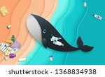the whale swallowed the plastic ... | Shutterstock .eps vector #1368834938
