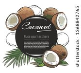 vector sketch coconut banner on ... | Shutterstock .eps vector #1368842765