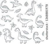 dinosaur outline seamless...   Shutterstock .eps vector #1368881978
