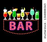 neon bar sign with colorful... | Shutterstock .eps vector #1368888365