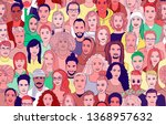 a large set of faces of young...