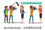 cameraman filming journalist... | Shutterstock .eps vector #1368962318