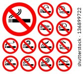 no smoking   red symbols ... | Shutterstock .eps vector #136899722