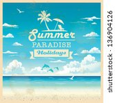 summer beach vector background... | Shutterstock .eps vector #136904126