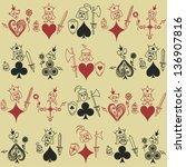 funny vintage seamless pattern... | Shutterstock .eps vector #136907816