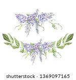 watercolor wisteria arrangements | Shutterstock . vector #1369097165
