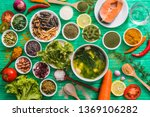 Small photo of Future food, health food, functional food ,Organic Plant-Based Food consisting of fish, insects, seaweed, vegetables, fruits, nuts, that new generations prefer to eat for healthy health.