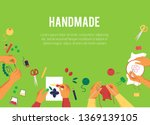 banner with top view of various ... | Shutterstock .eps vector #1369139105