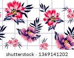 roses and botanical pattern for ... | Shutterstock .eps vector #1369141202