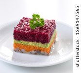 Stock photo herring appetizer with beetroot carrot and avocado 1369147565