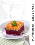 Stock photo herring appetizer with beetroot carrot and avocado 1369147568