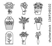 set of flowers bouquet icons....   Shutterstock .eps vector #1369148102