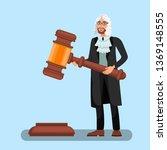 judge in wig holding big gavel... | Shutterstock .eps vector #1369148555