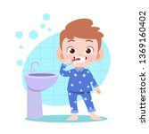 kid boy brushing teeth vector... | Shutterstock .eps vector #1369160402