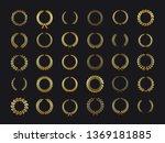 gold laurels wreaths. golden... | Shutterstock .eps vector #1369181885