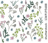 small floral pattern on a white ... | Shutterstock . vector #1369195688