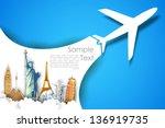 illustration of airplane flying ... | Shutterstock .eps vector #136919735