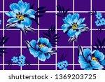 roses and botanical blue... | Shutterstock .eps vector #1369203725