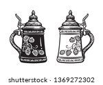 two german stein beer mugs.... | Shutterstock .eps vector #1369272302