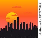 city sunrise  urban view flat... | Shutterstock .eps vector #1369278845