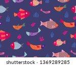 sea theme seamless pattern...   Shutterstock .eps vector #1369289285