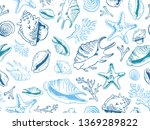 sea theme seamless pattern...   Shutterstock .eps vector #1369289822