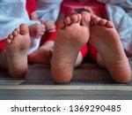 caucasian children in pink t... | Shutterstock . vector #1369290485