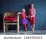 two funny kids in pink t shirts ... | Shutterstock . vector #1369292015