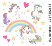 unicorn collection with magic... | Shutterstock .eps vector #1369302698