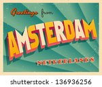 vintage touristic greeting card ... | Shutterstock .eps vector #136936256